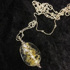 Halsband Klarglasägg med silver - Klarglaskula med silver