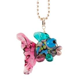 Fisk mångfärgad Halsband - Fisk multi turkos rosa lila