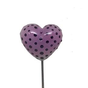 Pinne Rosa hjärta med svarta prickar - Pinne Hjärta rosa m svarta prickar