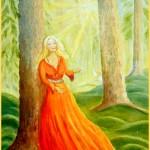 A hemsidan kvinna i röd klänning