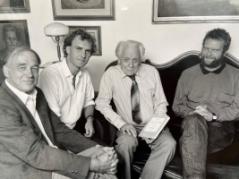 Fyra ordföranden i Svenska Freds- och Skilje-domsföreningen. Från vänster: Åke Sandin 1977-1979, Lars Ångström 1985-1995, Per Anders Fogelström 1963-1977, Tomas Magnusson 1979-1985.