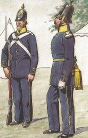 Menig och officer i modell 1845. Ur Värmlands regementes historia 1617-1950