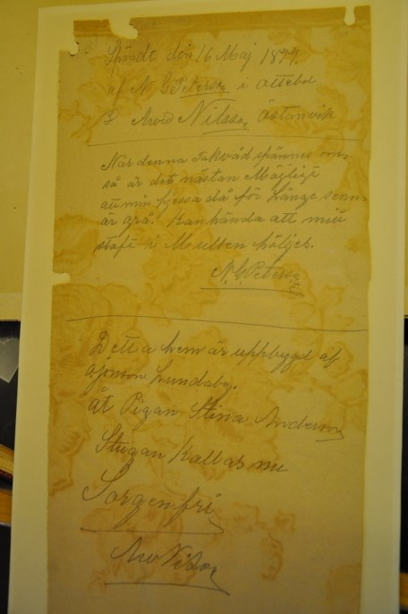 Dokument som skrivits 1899 av två hantverkare på Hagalund