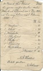 Auktionsnota från Lövnäset 1883
