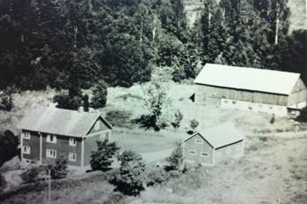 Gården Lycka med uthus från 1936 respektive 1952. Bilden från mitten av 1970-talet.