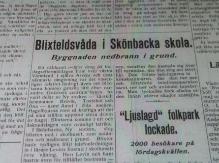 Arvika Nyheters artikel om branden på Skönbacka. Publicerad måndagen den 27 maj 1940.