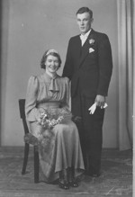 Ruth o Hugo Vestlund. Bröllopsbild från 1940.