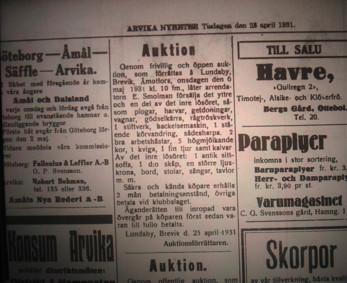 Auktion på Lundaby 1931. Edvin Smolman och hans hustru Sabina som är arrendatorer säljer sitt lösöre och flyttar till Krokebol.