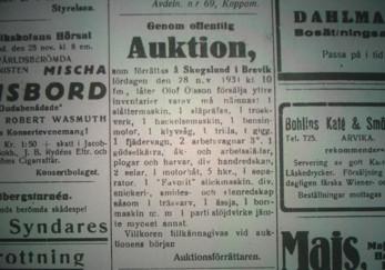 Auktion på Skogslund 1931. Här säljs en del av Olof Olsson lösöre. Han avlider drygt en månad efter auktionen.
