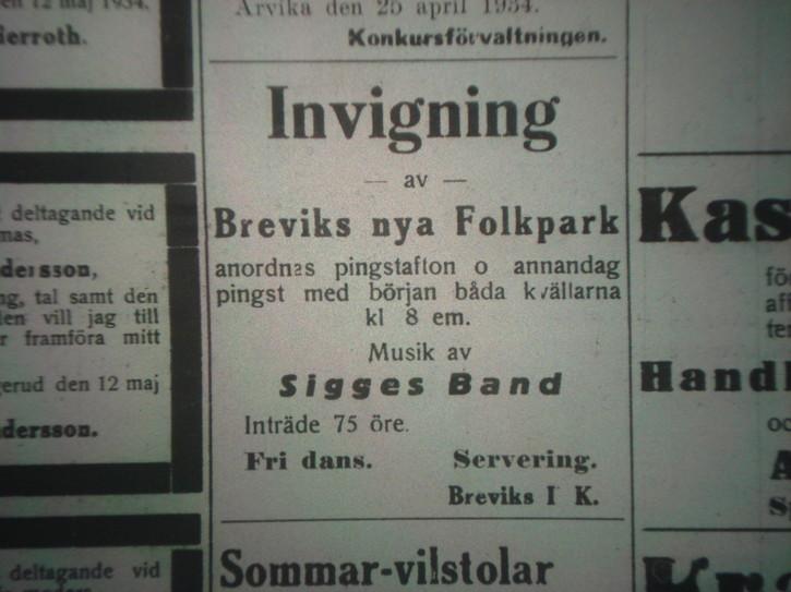 Annons i Arvika Nyheter 15 maj 1934