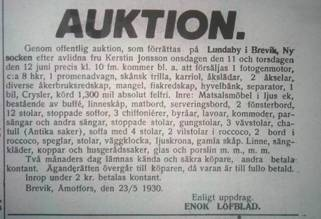 Auktion Lundaby 1930