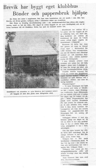 Arvika Nyheters artikel om bygget av Klubbhuset i Brevik
