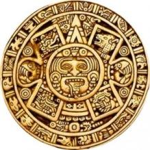 Ollin symbol, med Kínich Ahaus ansikte.