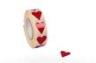 Etikett Hjärta, röd - Röd, 1000st