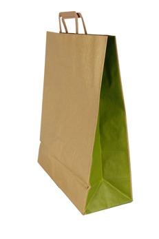 Papperspåse 32x13x40 - Brun biokraft, gröna sidor, 250st