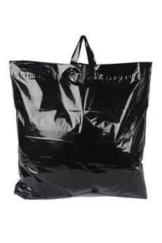 Plastpåse 60x55+5 cm, svart, 250st - Svart, sleifhandtag, 250st