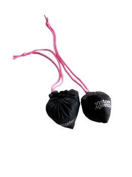 Vikbarpåse Poly, svart, 5-pack - Svart med rosa snöre, 5 st