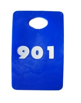 Garderobsbricka numrerad - Blå med vitt tryck - Välj nummerserie jämna 50-tal skriv i kommentar till butiken