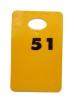 Garderobsbricka numrerad - Gul med svart tryck - Välj nummerserie jämna 50-tal skriv i kommentar till butiken