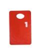 Garderobsbricka numrerad - Röd med vitt tryck - Välj nummerserie jämna 50-tal skriv i kommentar till butiken