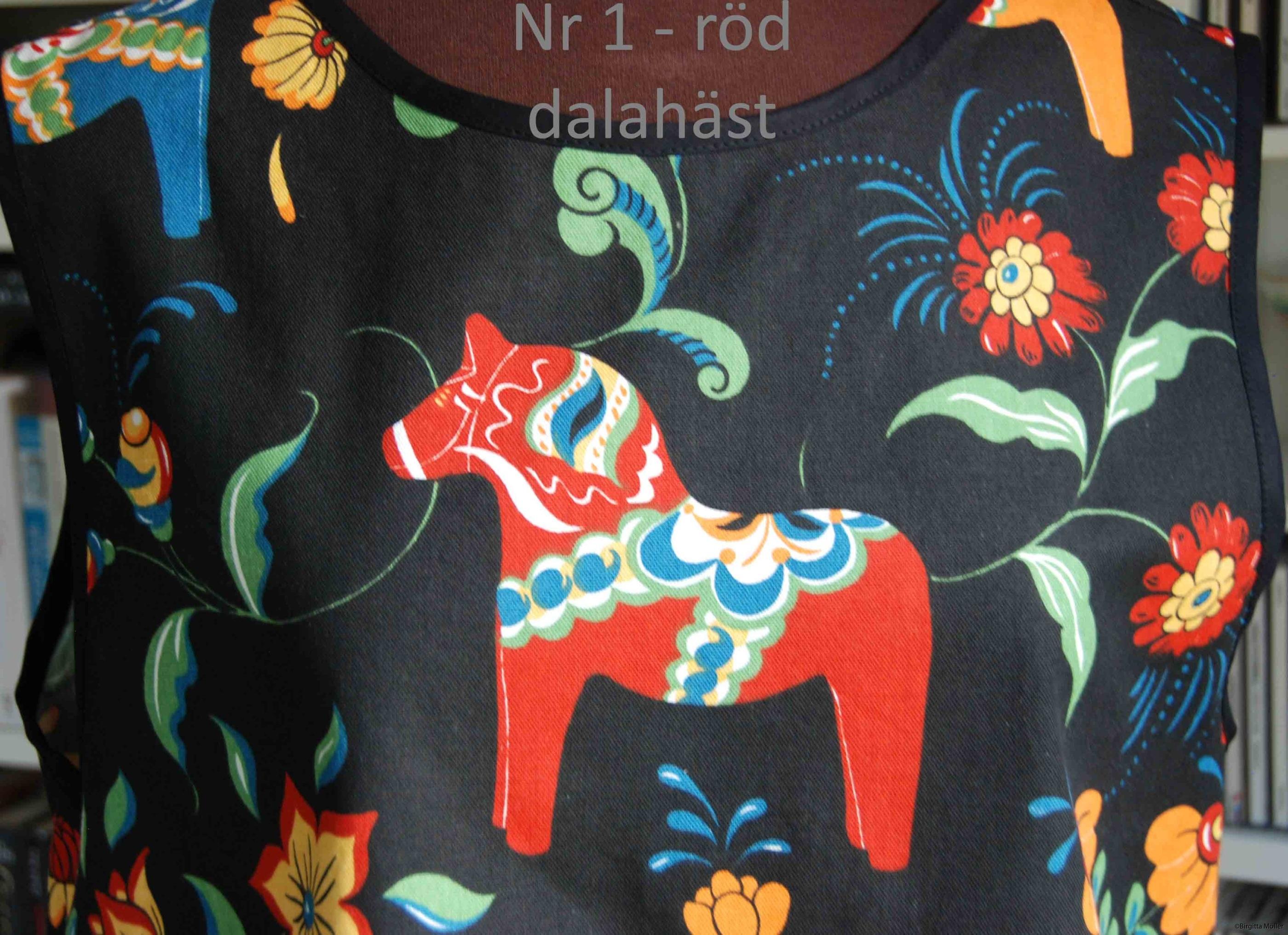 Unikt retroförkläde nr_1d röd dalahäst