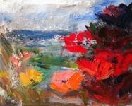 Landskap  o blommor