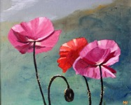 Valmon i sol målat med pensel