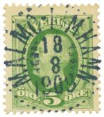 Järnvägsstämpel Malmö-Limhamn 18.8.1909