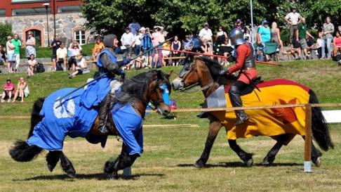 Silvertrana möter Svinhuvud. Stridshästen Ville ville inte kriga och galoppera i denna värme men det gjorde Evald gärna.