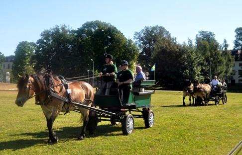 Dugga 22539 har äran är att  skjutsa in FNHs ordförande Kåre Gustafson och Göran Dahlin. Kusk och ägare är Titti Lindbom,  i efterföljande parvagn åker FNHs styrelse.