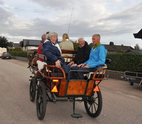 Fira bröllopsdag med häst och vagn i Halmstad.