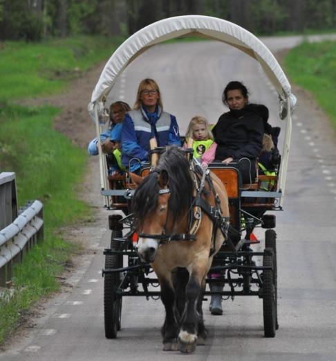 Liiv på sista rundan. Alltid vuxna som åker med i vagnen, 6 barn och 3 vuxna får plats.