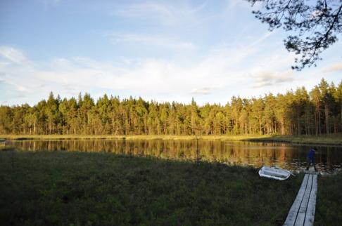 Vy över sjön vid vår naturhälsoplats i Simlångsdalens sköna natur.
