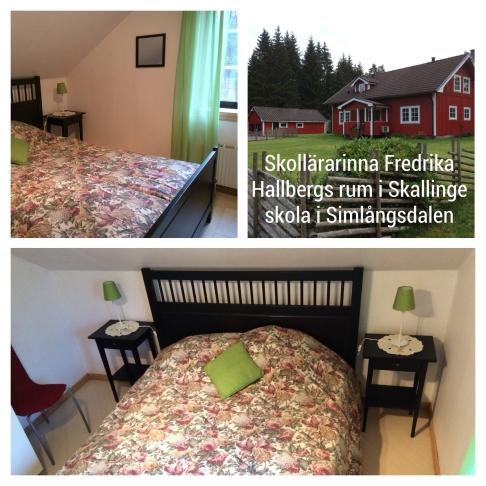 Fredrika Hallbergs rum. Plats för 2 i en 160 säng.