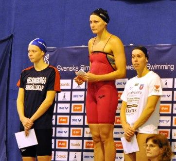 Hansson, Sjöström och Snildal på prisutdelningen 100m fjärilsim