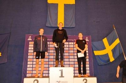Pristagarna på 100m fritt damer. Hansson, Sjöström och Granlund