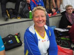 Förbundskaptenen Ulrika Sandmark - hon var obehagligt solbränd efter strandhugg i Florida, Brasilien och Mauritisus under januari.