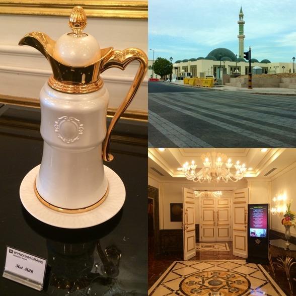 Mycket guld och glitter - på simhotellet i Doha.