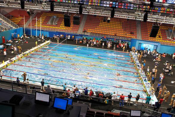 Insimning på VM-arenan i Doha.