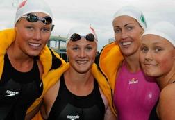 Coleman, Ejdervik,Alshammar och Ericsson simmade lagkapp för Täby år 2009