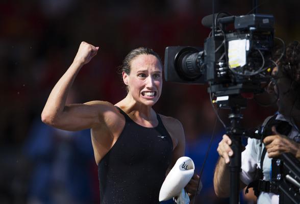 Rikke Möller Pedersen slog världsrekord på 200m bröstsim och gav uttryck för mycket känsla efter semifinalloppet.