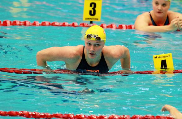 Sarah Sjöström som trea till semifinalen på 100m fjärilsim