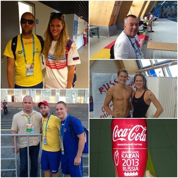 """Från Facebooktävlingen """"Gissa ryssen"""" som har körts under veckan. Dagens gssining var bilden uppe till vänster där tränare Gårdström var tvungen att ha solglasögonen på sig när han träffade Yulia Efimova."""
