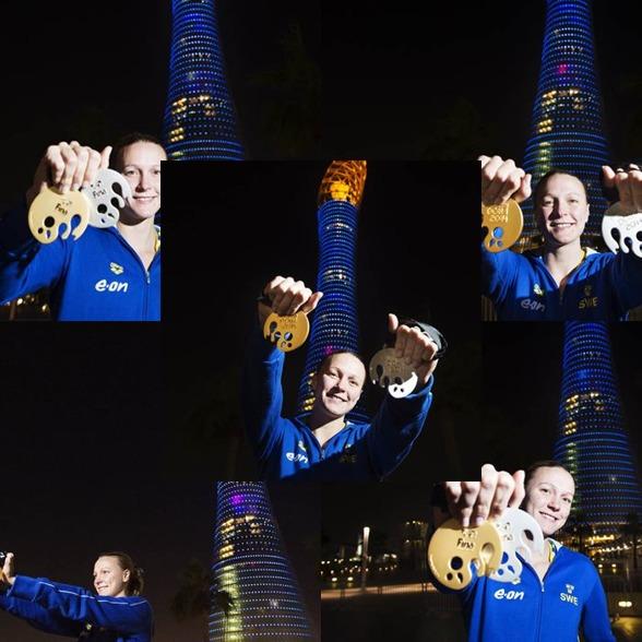 Några goa medaljbilder på Sarah efter gårdagens dubbla VM medaljer i Doha - klick på bilden så blir den större!