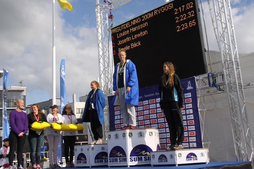 Lewton - Hansson - Bäck på prispallen efter 200m ryggsim