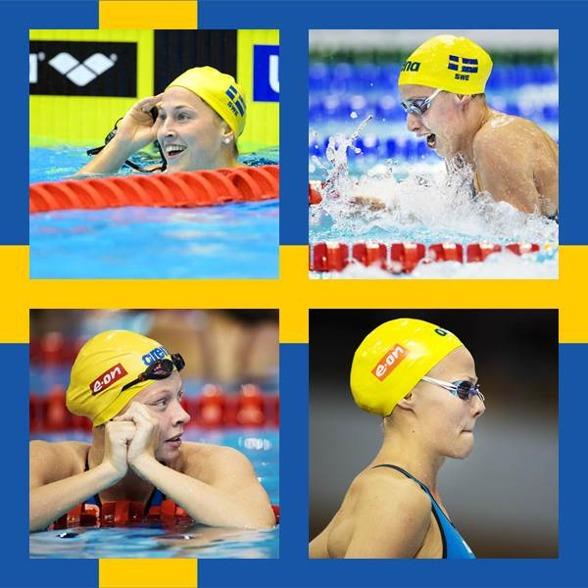 Det svenska försökslaget på 4x100m medley idag - Lindborg-Johansson-Hansson - Coleman