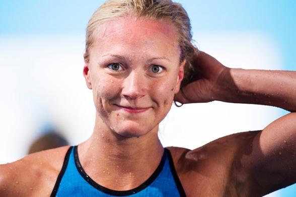 Så här nöjd såg Sarah Sjöström ut efter att ha gått till semifinal på 50m fritt idag...