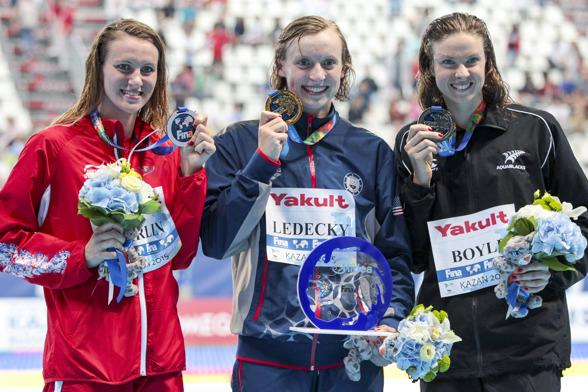 Dagens simmare i Kazan - i mitten Katie Ledecky USA som vann sitt femte VM-guld.