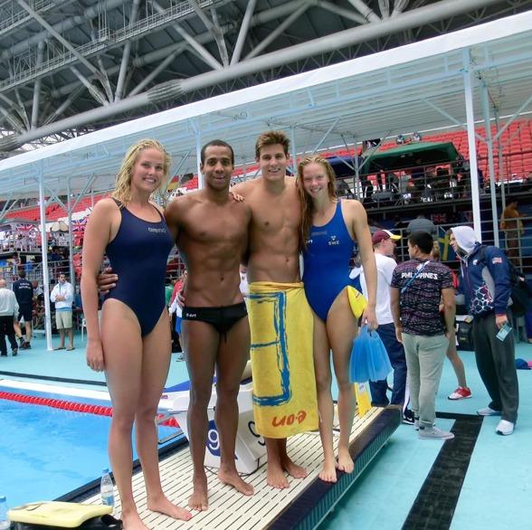 Det historiska mixedlaget som simmade för Sverige idag - Coleman-Sjödin-Carlsen och Hansson