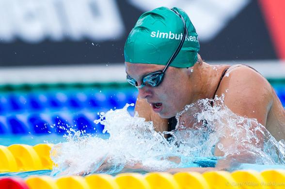 Shannyn Hultin från Uppsala, en ny bekanskap. Svenskamerikanska som vann juniorernas 400m medley.